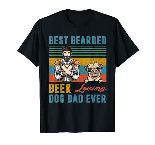 Mejor Cerveza Barbuda Loving Dog Dad Ever Pug Pet Personalizado Camiseta