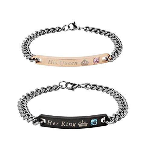 LUOEM - Coppia di braccialetti, in acciaio inossidabile, ideale per San Valentino, compleanno, con incisioneHer King e His Queen