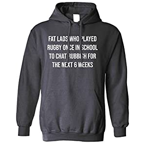 Six Nations Unisex Hoodie Fat Lads Who Played Rugby Once Charcoal X-Large from Tim And Ted