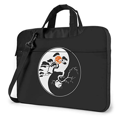 Yin Yang Bonsai Tree Cute Laptop Case Laptop Shoulder Messenger Bag Sleeve for 13 To15.6 Inch