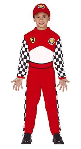 Guirca Rennfahrer-Kinderkostüm für Karneval Overall rot-Weiss-schwarz - 110/116 (5-6 Jahre)