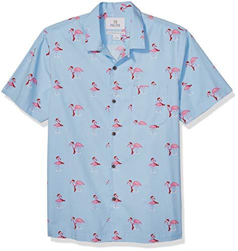 Amazon Brand - 28 Palms Men's Standard-Fit 100% Cotton Holiday Christmas Hawaiian Shirt, Flamingo, X-Large