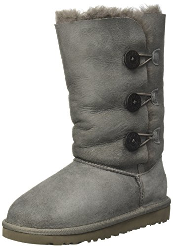 Big Sale New UGG® Australia Bailey Button Triplet Grey 4 Kids Boots