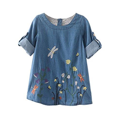 AMUSTER.DAN Kleinkind Kinder Baby Mädchen Kleider Blumenstickerei Denim Prinzessin Kleider (130, Hellblau)
