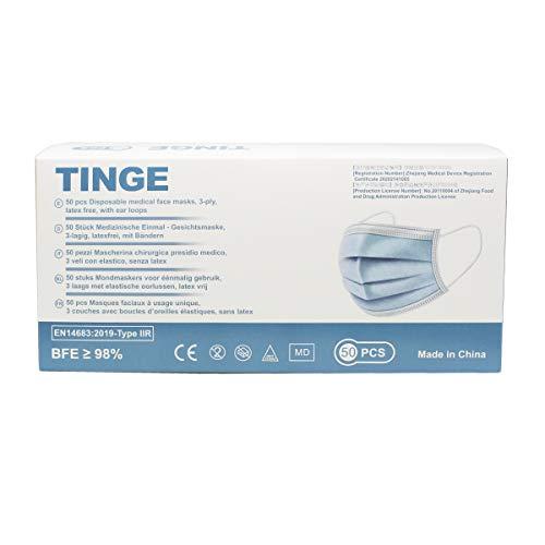 50 Stück OP Masken, medizinischer einmal Mundschutz, CE Zertifiziert Type IIR - höchste Filterstufe 98% BFE