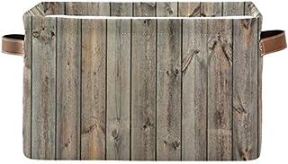 Doshine Panier de rangement en bois vintage avec poignées pliable Grand cube de rangement Panier à linge pour organiser le...