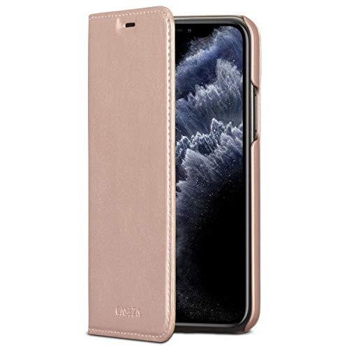 CASEZA iPhone 11 Pro Flip Case Rose Gold Oslo Ultra Schlanke PU Leder Hülle Ledertasche Lederhülle für das Original iPhone 11 Pro (5,8 Zoll) - Edles Kunstleder Cover mit Magnetverschluss