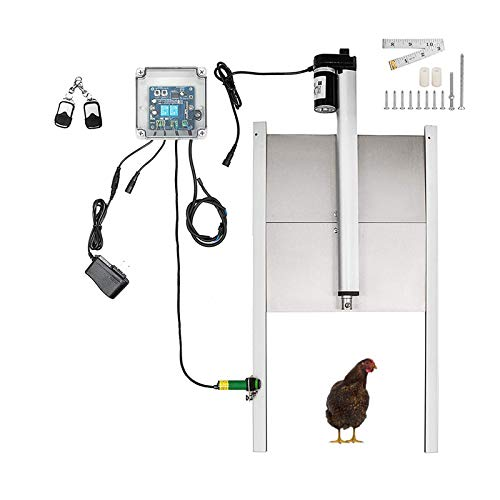 AOUSTHOP Automatic Chicken Coop Door Opener Kits,Light or Timing Auto Guard Door,with in-fra-red Sensor, Prevent Chicken from Being Crushed,for Poultry Duck Small Farm Animal (Light Sensor)