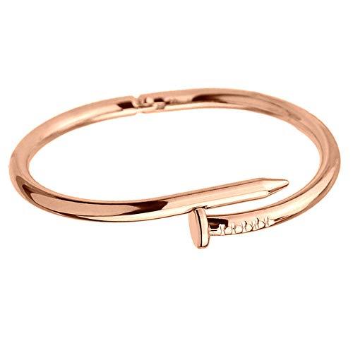 YOUZHA Pulsera 2019 Acero Inoxidable de Titanio Simple Clavos de Acero Inoxidable Brazaletes de Oro Plateado Brazaletes Punky para Mujeres Hombres Joyería de Regalo, Oro Rosa