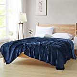 Ponvunory Flannel Fleece Plush Blanket King Size(108'x90', Navy) - Super Soft Warm Lightweight Microfiber Blanket for Chair, Sofa, Couch, Bed, Camping, Travel