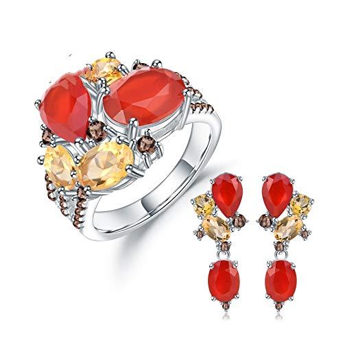 AdronQ® Plata de Ley 925 Conjunto de joyería Colorida de Caramelo Conjunto de aretes de Anillo de citrina de Granate Rojo Natural para Mujeres Joyería Fina