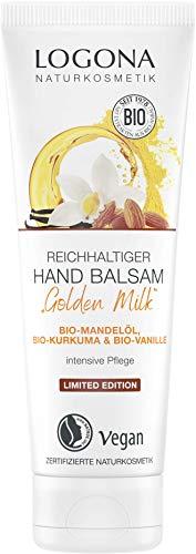 LOGONA Naturkosmetik Reichhaltiger Hand Balsam LIMITED EDITION, mit Bio-Mandelöl, verwöhnender Bio-Vanille & Bio-Kurkuma, für ein geschmeidiges & zartes Hautgefühl, 75 ml