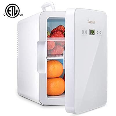 AstroAI Mini Fridge 6 Liter/8 Can Skincare Fridge for Bedroom - with Upgraded Temperature Control Panel - AC/12V DC Thermoelectric Portable Cooler and Warmer for Skin Care, Medications, White