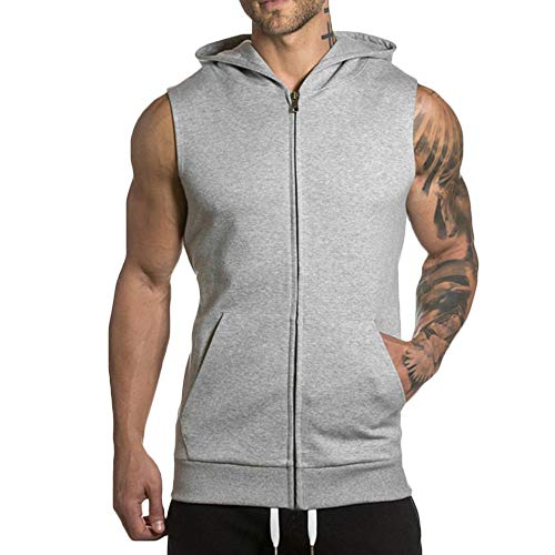 Rexcyril Men's Hooded Zip Up Workout Tank Top Bodybuilding Fitness Muscle Cut T Shirt Sleveless Gym Stringer Hoodies Grey Large