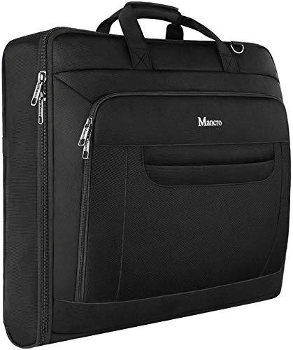 Mancro Suit Bag, 46 inch Carry-On Suit Carrier, Waterproof Business Travel Garment Bag with Adjustable Shoulder Strap for Men Women, Foldable Bag for Dresses/Suits/Coats, Black