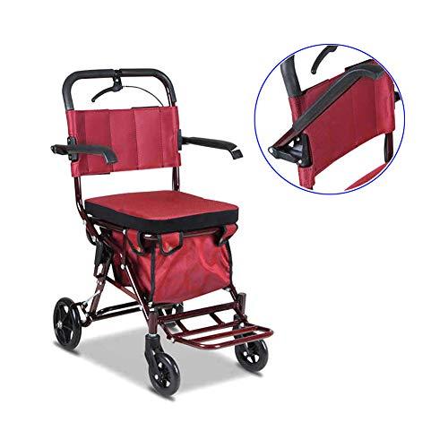 WANGXN Rollators 4 Wiel Vouwen met Afsluitbare Remmen en Grote Opbergtas met Seat Walking Aid