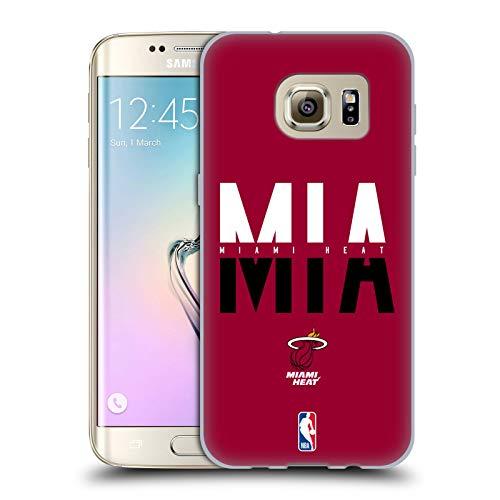 Ufficiale NBA Tipografia 2019/20 Miami Heat Cover in Morbido Gel Compatibile con Samsung Galaxy S7 Edge