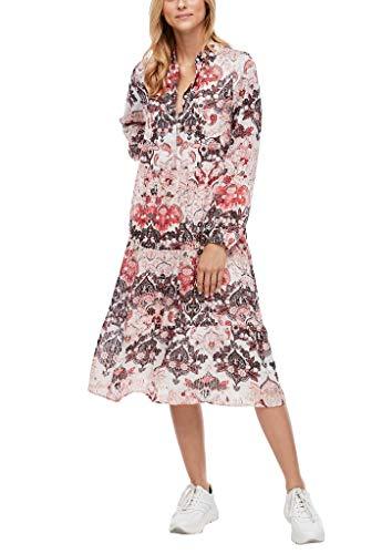 s.Oliver Damen Stufenkleid mit satinierten Streifen cream AOP 40
