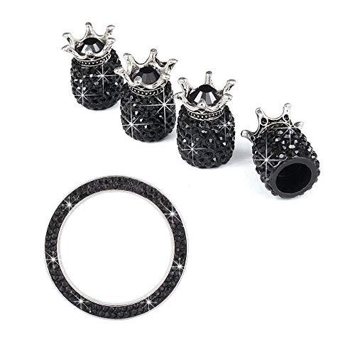 ZZMWLES 5pcs One-Click Start Anillo Decorativo Diamante con Forma de Tapa de neumáticos con Forma de neumático (Color : Black)