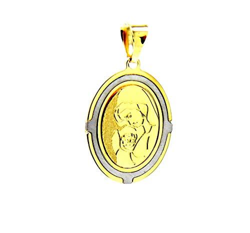 Pegaso joyas-Colgante de Oro Amarillo y blanco de 18K medalla VIRGEN con Niño-Colgante bicolor mujer O niña con diseño de Niños