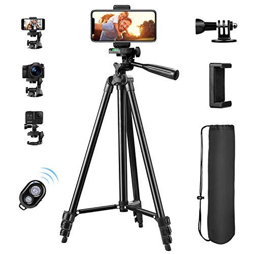 Sunfoto Handy Stativ, 55 Zoll 140cm Aluminium Kamera Stativ Reisestativ für iPhone/Handy, Kamera und Sportkamera mit Bluetooth Fernbedienung, Handy Halterung und Gopro Halterung