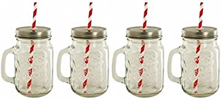 4 Pack Lidded Mason Drinking Jars with Straws - Vintage Style with Handle, Tin Lid, Plastic Straws, 16 oz. Old Fashioned Drinking Glasses