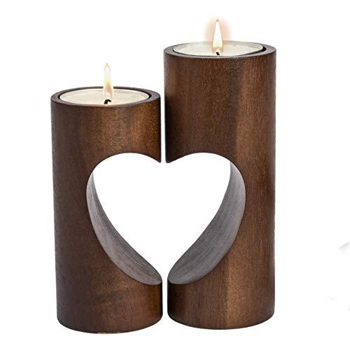 ChasBete Kerzenhalter Holz Teelichthalter Set, Unity Herz Teelicht Kerzenhalter, Romantisch Tischdeko Wohnzimmer - Braun