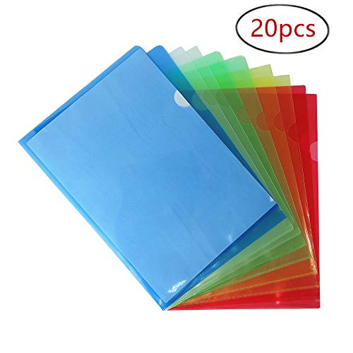 20 PCS Project folders Plastic Sleeves, Clear Document Folder Copy Safe Project Pockets US Letter/A4 Size Set of 20 in 5 Assorted Colors (Yellow,Green,Blue,White,Red)