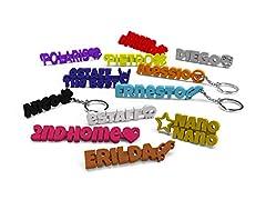Idea Regalo - eStaff Portachiavi personalizzato, Personalizzabile con nome, scritta o frase e simbolo a scelta, da completare con anello, catenina o moschettone. Per Uomo/Donna (2 Pezzi)