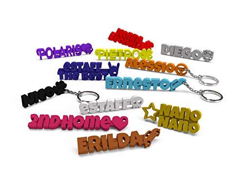 eStaff Portachiavi personalizzato, Personalizzabile con nome, scritta o frase e simbolo a scelta, da completare con anello, catenina o moschettone. Per Uomo/Donna (2 Pezzi)