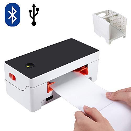 Thermoetikettendrucker, Barcodedrucker, Desktop Etikettendrucker, Thermodrucker mit 150 mm/s Versanddrucker, Kompatibel mit UPS, FedEx, Amazon, Ebay etw. Mit Bluetooth und stehen
