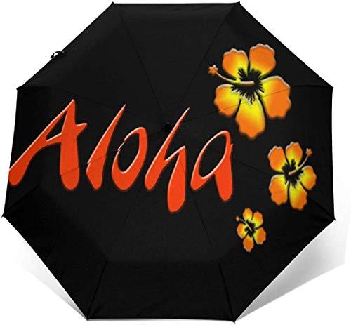 Hawaii Aloha Blumen Automatischer Dreifach Faltbarer Regenschirm Sonnenschirm Sonnenschirm-Außendruck