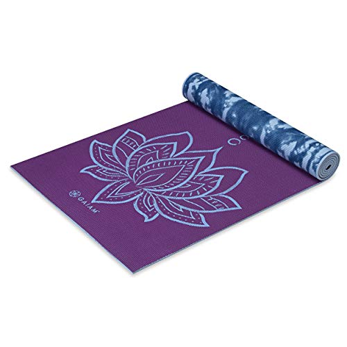 Gaiam Yoga Mat Premium Print Reversible Extra Thick Non Slip Exercise & Fitness Mat for All Types of Yoga, Pilates & Floor Workouts, Purple Lotus, 6mm