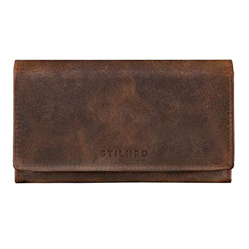 STILORD 'Marquesa' Leder Geldbörse Damen RFID Schutz NFC Portmonnaie Damen Vintage Geldbeutel Groß Quer mit Ausleseschutz in Geschenkbox Echtleder, Farbe:Sepia - braun Plain