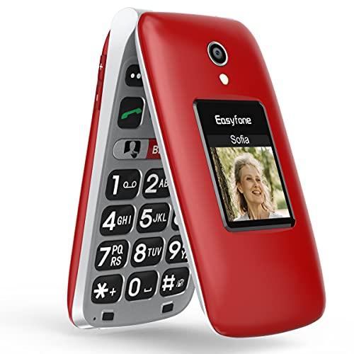 Easyfone Prime-A1 Pro GSM Téléphone Clapet Portable Débloqué avec Grandes Touches (Ecran: 2,4 Pouces - Compatibilité appareils auditifs - Bouton SOS avec GPS - Batterie 1500mAh) (Rouge)