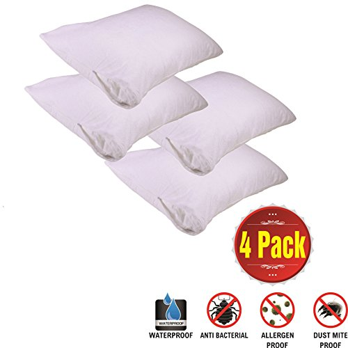 Pillow Protectors Waterproof 4 Pack Standard Zip Cotton White Terry Bed Bug Proof Encasement Pair Anti Allergy Anti Bacterial Anti Dust Mite Washable Long Life Soft Non Pvc Breathable Fabric Set of 4