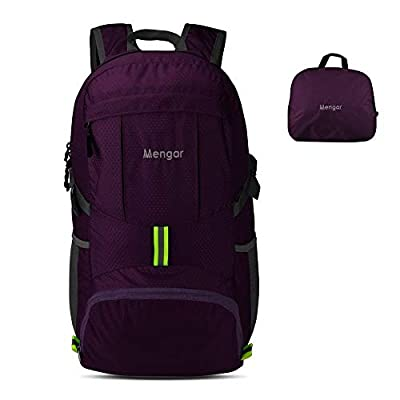 Backpack Daypack,Travel Backpack, Mengar 35L Foldable Water Resistant Packable Backpack Hiking Daypack - Ultralight and Handy & (Purple)