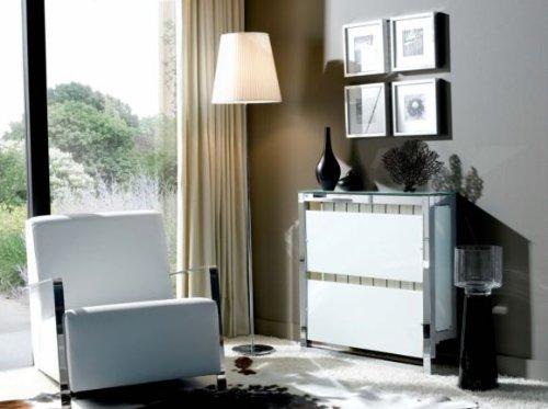 Tecnocubo Systems - Cubreradiador volato, Medidas 120 x 20 x 80 cm, Color Acero ino x Brillo/Blanco