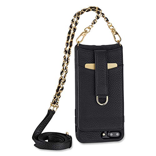 Vaultskin Victoria Crossbody iPhone Leather Wallet Case, Fashionable Bumper for Cards and Cash - Holds up to 8 Cards (iPhone 7 Plus / 8 Plus, Black, Chain & Leather Strap)