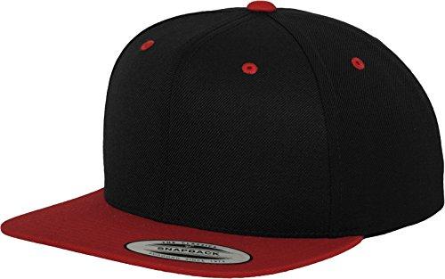 Yupoong Flexfit Unisex Kappe Classic Snapback 2-Tone, zweifarbige blanko Cap mit geradem Schirm, One Size Einheitsgröße für Männer und Frauen, Farbe blk/red