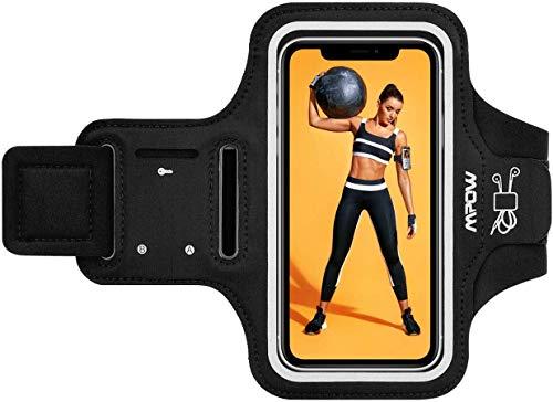 Mpow Fascia Sportiva da【Fino a 6,5' Braccio Sweatproof Bracciale per Corsa & Esercizi con Supporto Armband per Huawei P20 PRO, iPhone 11 PRO Max/XS Max/X/XR/8 Plus/8/7, Galaxy S10/S9 Plus/S8,Nero