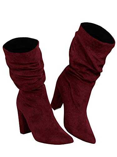 Botas femininas de inverno de salto alto despojadas cano médio camurça sem cadarço e bico fino, Vinho tinto, 7