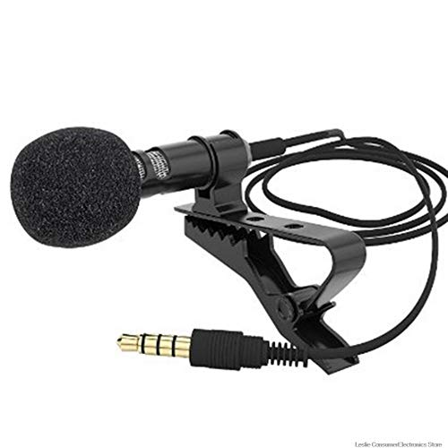 ABMBERTK Mini-Kondensatormikrofon, Kabel-Mikrofon mit aufsteckbarem Revers-Lavalier, tragbare Mini-Stereo-HiFi-Klangqualität, Schwarz