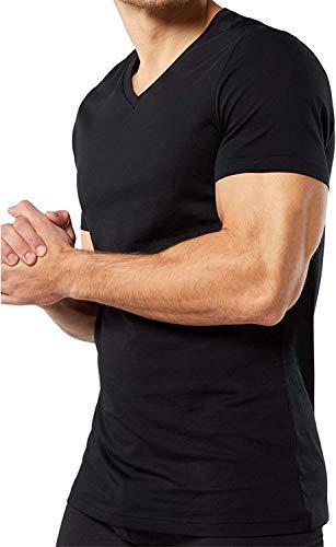 Baci & Abbracci ® - Magliette Intime Uomo Cotone Elasticizzato Scollo a V Pacco da 3 T Shirt Uomo Manica Corta Cotone Bielastico Maglietta Uomo Nera Bianca e Colorata (S, Nero)
