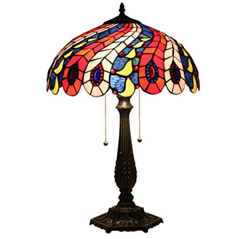 Tiffany Style Table Lamp Handmade 16-Inch Lamp E27 Lamp Holder Zinc Alloy Base Peacock Tail Decorative Table Lamp