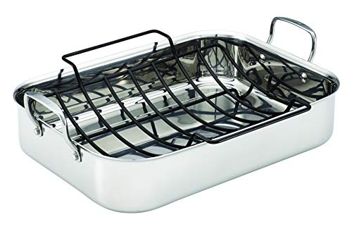 Anolon 30834 Triply Clad Stainless Steel Roaster / Roasting Pan with Rack - 17 Inch x 12.5 Inch, Silver