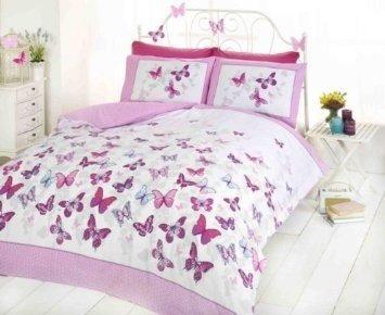 Bedding Heaven Housse de couette Flutter imprimé papillon. Housse de couette pour lit double Motif papillons Rose