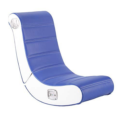 X-Rocker Play 2.0 Floor Rocker Gaming Chair for Kids with Multi-Media Sound System for PS4, Xbox, & Switch, Low Folding Video Games Seat, Faux Leather - Blue/White