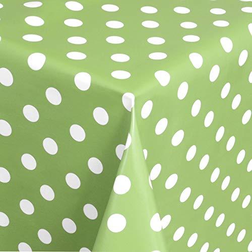 DecoHomeTextil Wachstuch Wachstischdecke Tischdecke Gartentischdecke Punkte Hellgrün Breite & Länge wählbar 120 x 160 cm Eckig abwaschbar