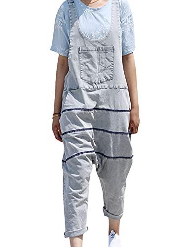 rzoizwko Mono de algodón a rayas para mujer, pantalones de harén de pierna ancha y pantalones de mezclilla